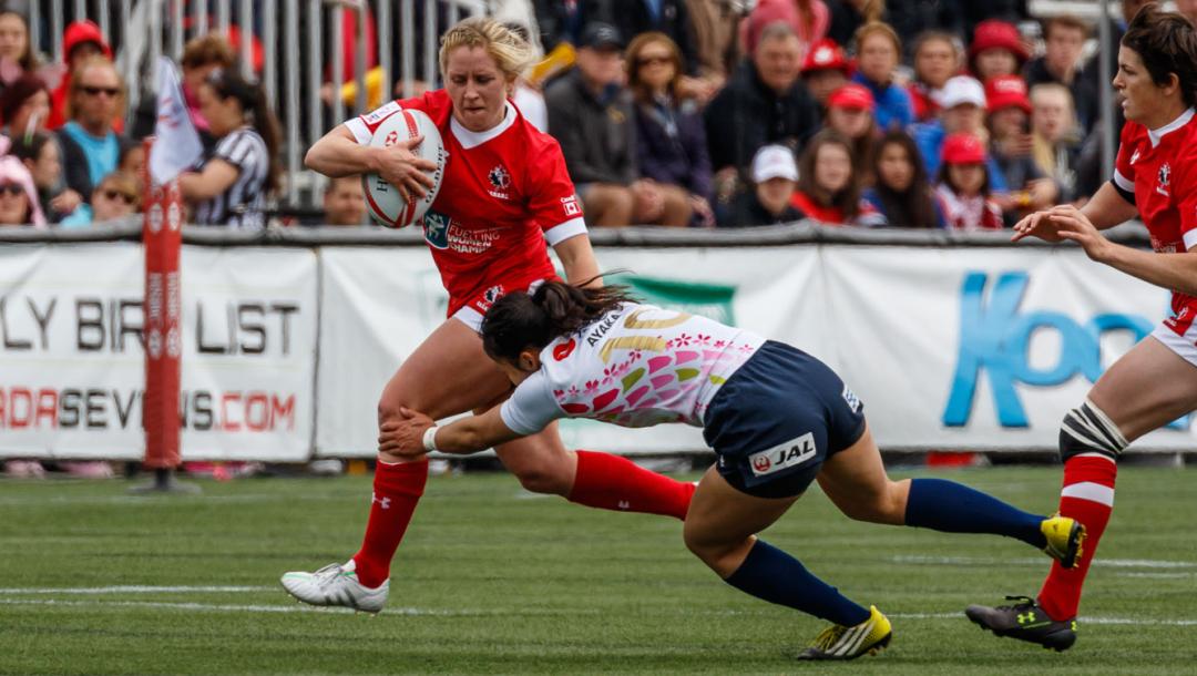 Des joueuses de rugby en action