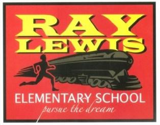 Sur fond rouge, Ray Lewis inscrit en majuscules jaunes, l'image d'un coureur près d'un train et le titre Elementary School, pursue the dream.