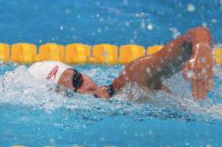 Sydney Pickrem aux Essais canadiens de natation, le 7 avril 2019. (Photo : LA PRESSE CANADIENNE)
