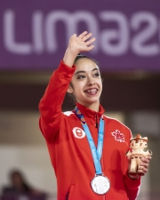 LIMA, Peru. - Natalie Garcia of Canada wins asilver medal in women's rhythmic clubs gymnastics at the Lima 2019 Pan American Games on August 05, 2019. Photo by David Jackson/COC