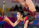 Natalie Garcia lors de l'épreuve de la massue en gymnastique rythmique aux Jeux panaméricains de Lima, au Pérou, le 3 août 2019. Photo : David Jackson/COC