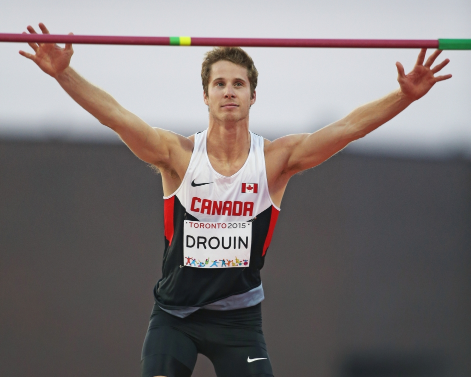 Derek Drouin is about to jump.