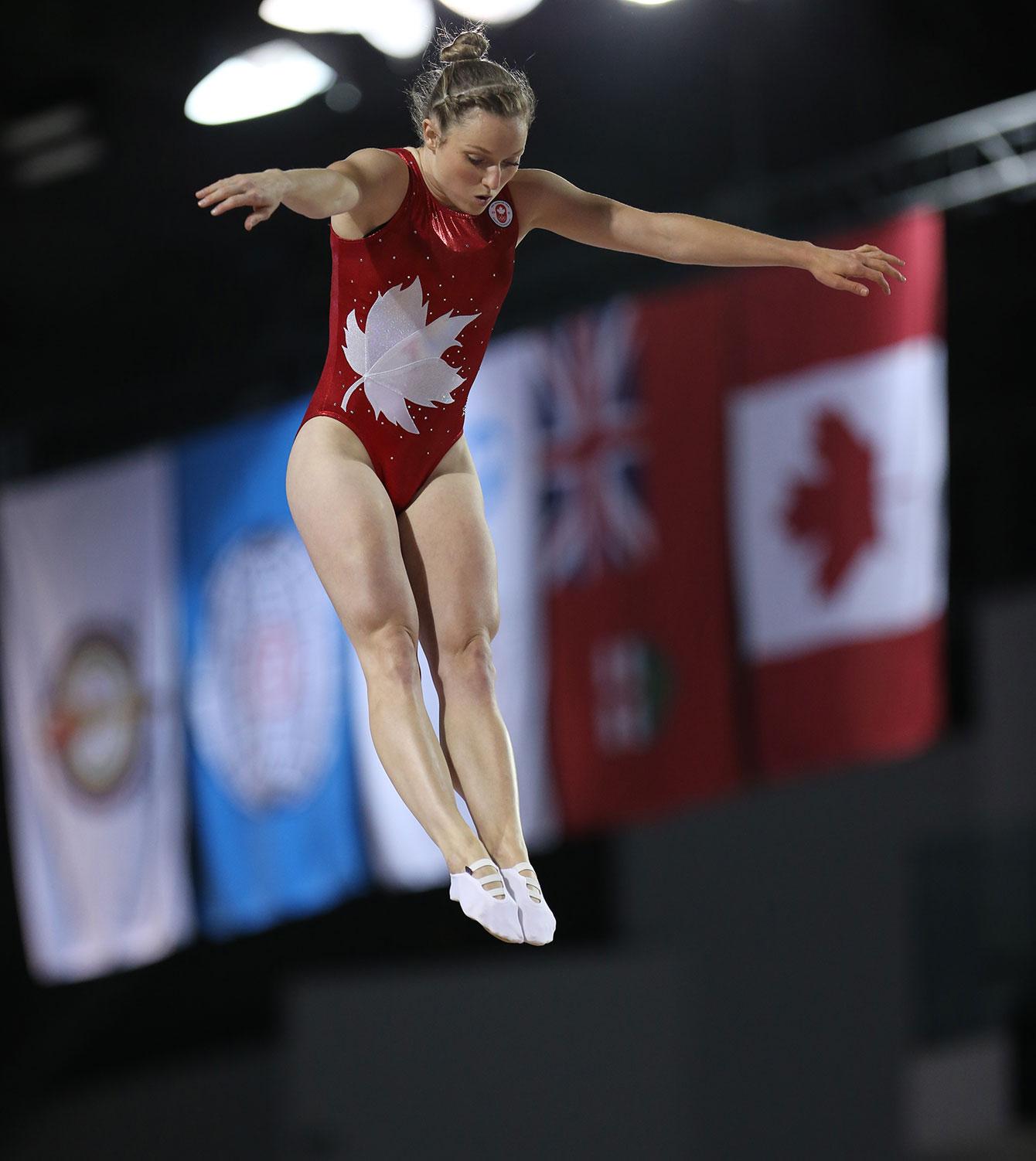 Rosie MacLennan suspended in the air