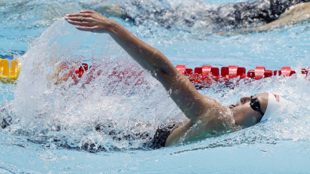 Sydney Pickrems performe au 200 m quatre nages à la demi-finale des Mondiaux aquatiques de la FINA 2019 à Gwangju, en Corée du Sud, le dimanche 21 juillet 2019.