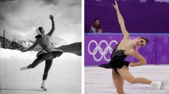 Photos côte à côte de patineuses à travers les années