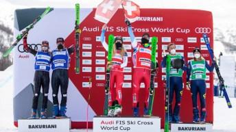 Podium du tout premier événement de ski cross par équipes mixtes en Coupe du monde