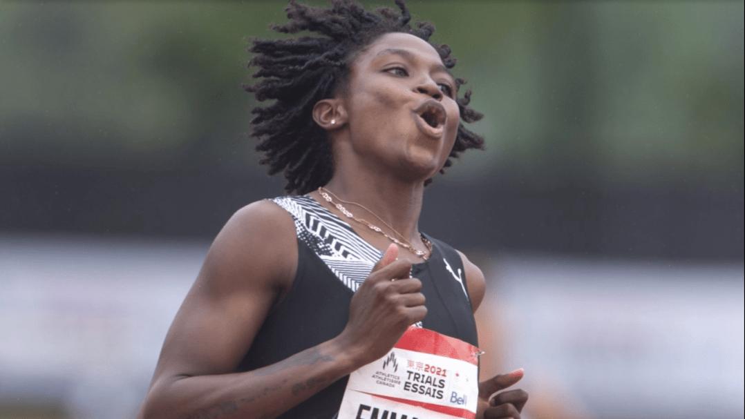 Crystal Emmanuel en action aux Essais olympiques d'athlérisme