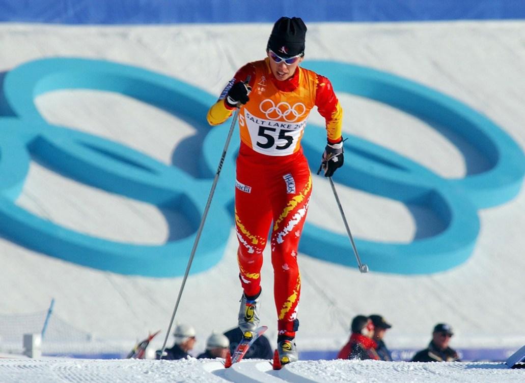 Canadian athlete skiing