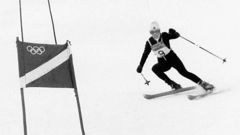 Nancy Greene skiing at the 1968 Winter Olympics