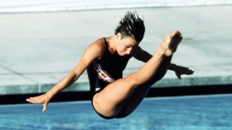 Canada's Sylvie Bernier performs a dive at the Los Angeles 1984 Olympic Games. (CP Photo/ COC/ Ted Grant)
