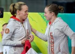 Canada's Rosannagh MacLennan, right, congratulates teammate Karen Cockburn for her silver medal in the women's trampoline competition at the Beijing 2008 Summer Olympics in Beijing, Monday, August 18, 2008. THE CANADIAN PRESS/Paul Chiasson