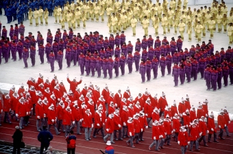 Canadian athletes make their entrance during the opening ceremony at the 1984 Olympic Winter Games in Sarajevo. (CP PHOTO/COC/J. Merrithew )