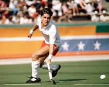 Trevor Porritt plays field hockey at the Los Angeles Olympics