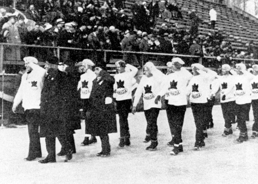 Team Canada participates in the opening ceremonies at the 1932 Lake Placid Olympics