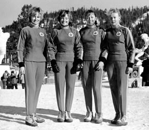 Ann Heggtveit and Nancy Holland, Nancy Greene, and Elizabeth Greene