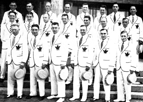 Canadian team in white suits with maple leaf on chest