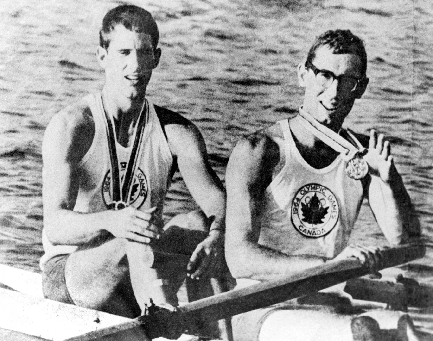 Canada's Roger Jackson and George Hungerford celebrate their gold medal win in the pairs rowing event at the Tokyo 1964 Olympic Games.