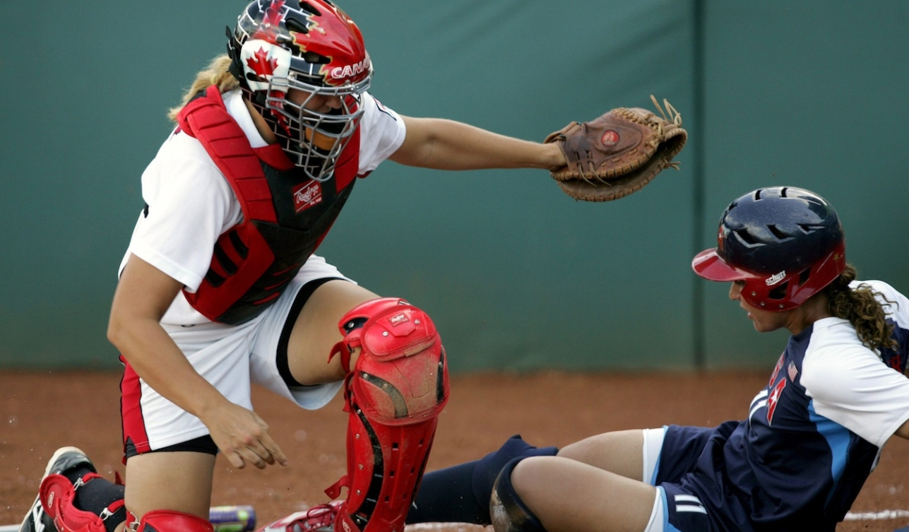 Catcher Kaleigh Rafter makes a tag