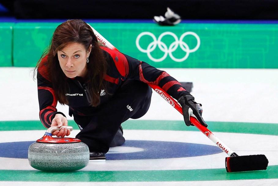 Cheryl Bernard throws her rock in the second end