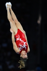 Canada's Karen Cockburn from Toronto performs in the qualifying round of the women's trampoline at the Beijing 2008 Summer Olympics in Beijing, Saturday, August 16, 2008. Cockburn placed fourth. THE CANADIAN PRESS/Paul Chiasson