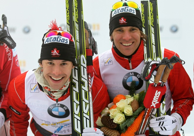 Alex Harvey and Devon Kershaw celebrate winning the gold medal in the team sprint at the FIS Nordic World Ski Championships at Holmenkollen on March 2, 2011 in Oslo, Norway. (Photo by Christof Koepsel/Bongarts/Getty Images)