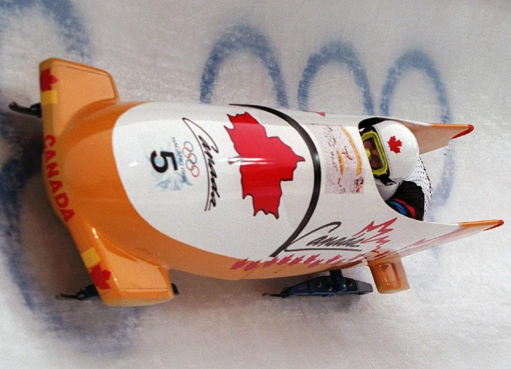 Canadian athlete bobsleighing