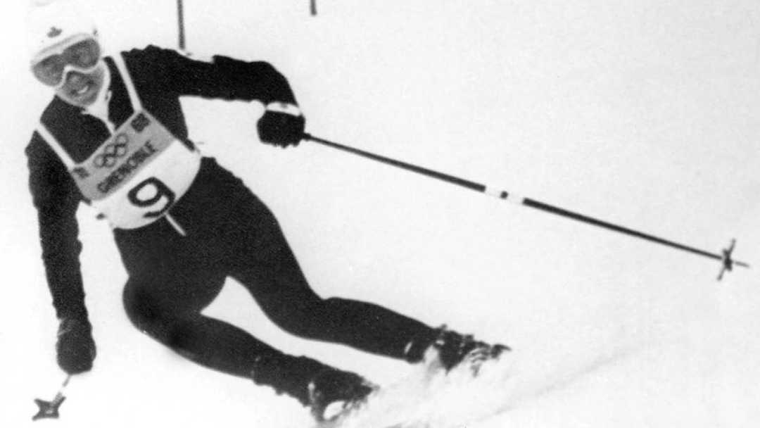 Nancy Greene competes in alpine skiing at the Grenoble 1968