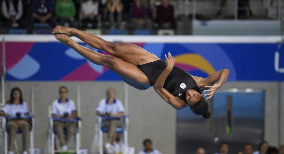 Jennifer Abel twirling during a dive