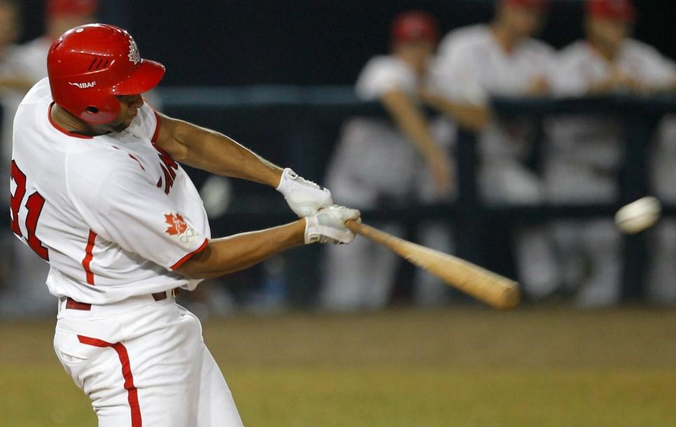 Michael Crouse hits a ball