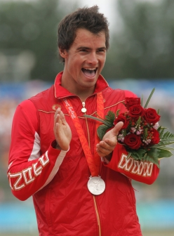 Adam van Koeverden of Toronto on the podium with his silver medal in the men's kayak single 500 metre final at the summer Olympics in Beijing, China, Saturday, August 23, 2008. THE CANADIAN PRESS/COC - Mike Ridewood