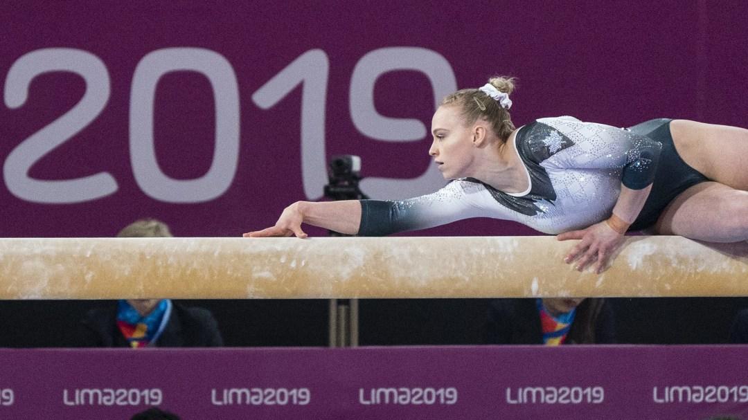 Ellie Black competes on beam at Lima 2019