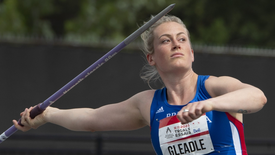 Liz Gleadle throws a javelin