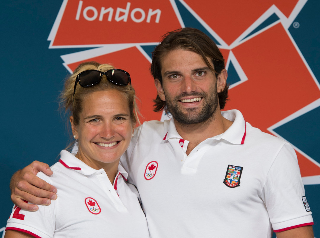 Canada's Hugues Fournel and his sister Emilie pause for a photo following a press conference for London 2012 Olympics