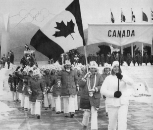 Ken Read leads the Canadian delegation at the Opening Ceremony of the 1980 Olympic Winter Games in Lake Placid, N.Y., in this Feb. 13, 1980 file photo. (CP PHOTO/Doug Ball)