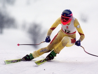 Canada's Kerrin Lee-Gartner competing in the alpine skiing downhill event at the Albertville 1992 Olympic Winter Games. (CP PHOTO/COA/Scott Grant)