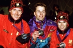 Canada's Philippe Laroche (left) and Lloyd Langlois (right) celebrate after winning respectively silver and bronze medals in the men's freestyle skiing aerials event at the Lillehammer 1994 Olympic Winter Games. (CP Photo/ COC/Claus Andersen)