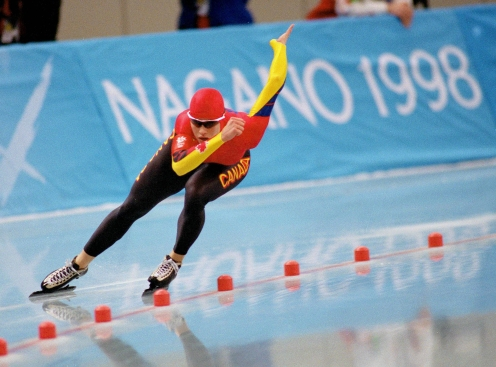 Canada's Catriona Le May Doan competes in the long track speed skating event at the 1998 Nagano Winter Olympic Games. (CP Photo/ COC/ Scott Grant)