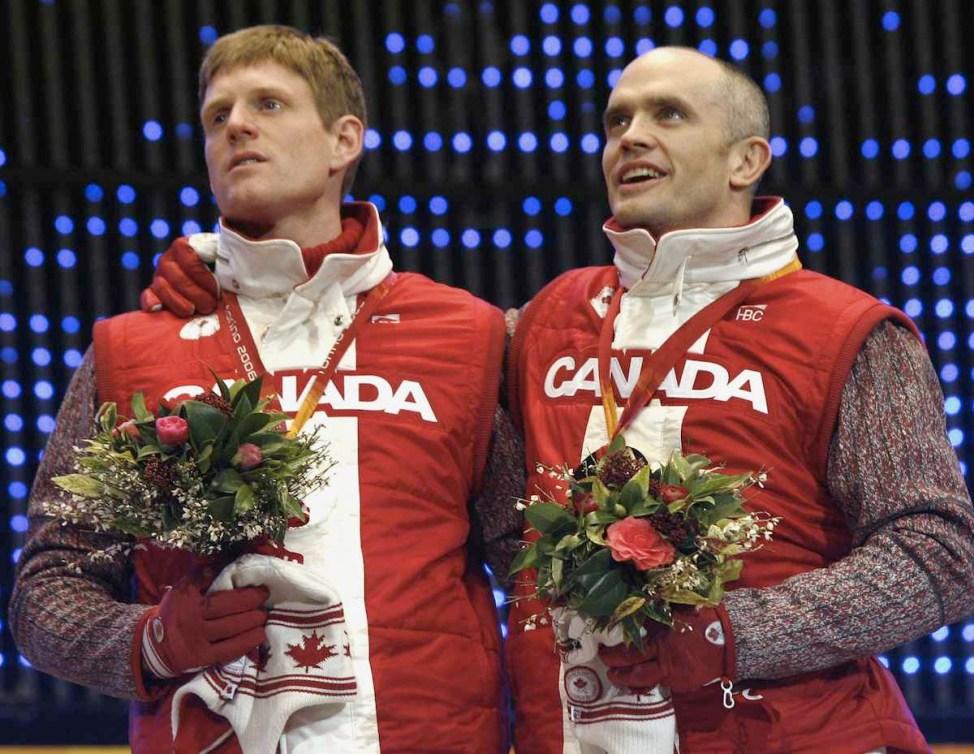 two Canadian athletes on the podium