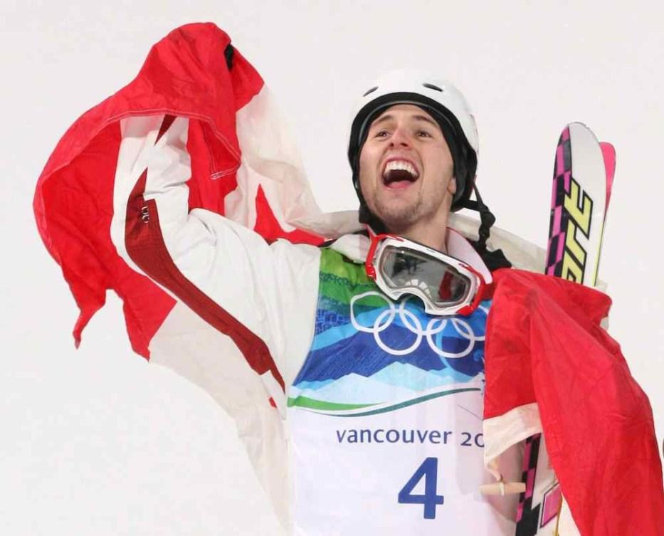 Canadian skier celebrating