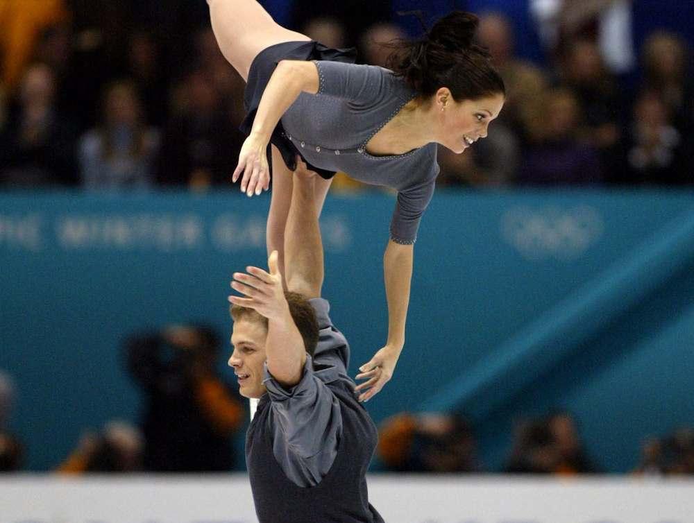 two athletes skating