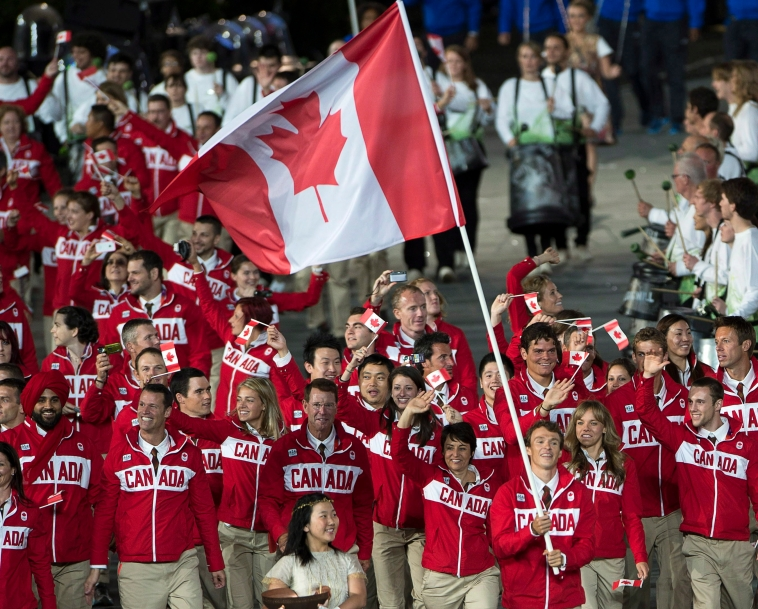Wide shot of Team Canada at London 2012 Opening Ceremony
