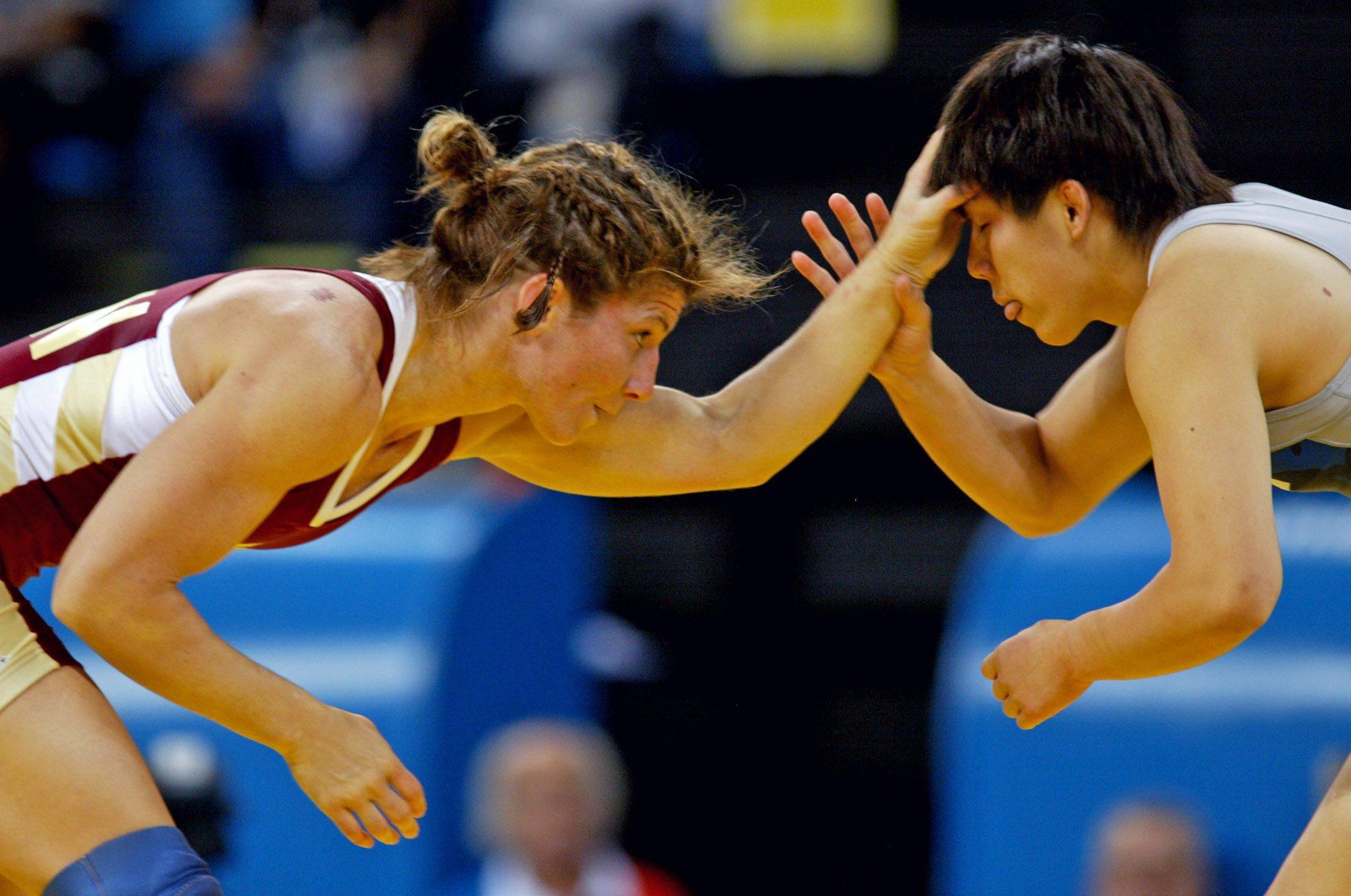 Female players wrestling