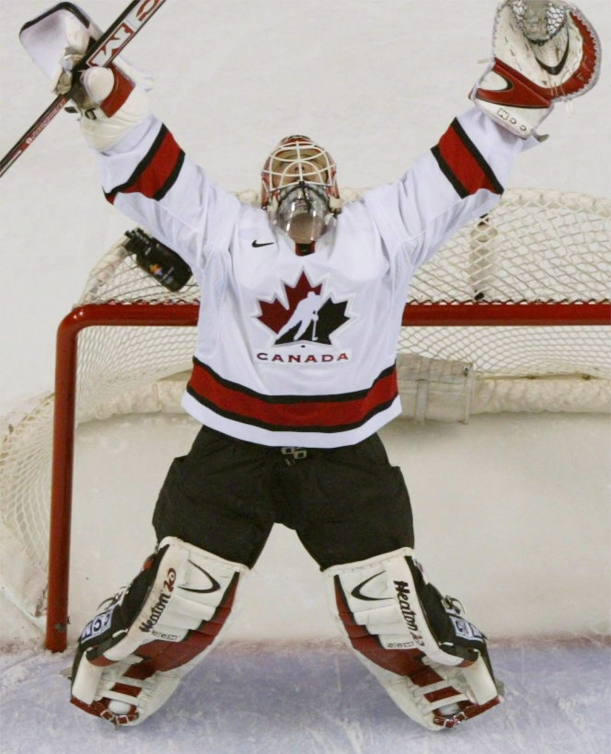 Martin Brodeur celebrates Canada's first Olympic gold medal in 50 years, Salt Lake City 2002. Sunday Feb 24, 2002