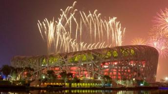 Fireworks above the Birds Nest stadium in Beijing