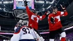 Jamie Benn and Corey Perry celebrate in Sochi.