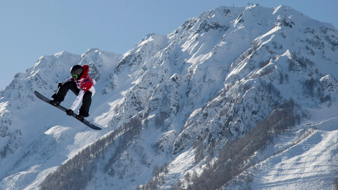 Max Parrot during slopestyle run at Sochi 2014