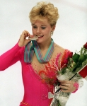 Canada's Elizabeth Manley celebrates her silver medal win in the figure skating event at the 1988 Olympic Winter Games in Calgary. (CP PHOTO/COC/ C. McNeil)