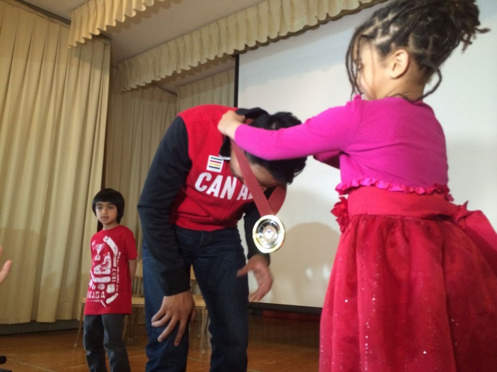 Junio was presented with the medal in front of cheering students, faculty and parents.