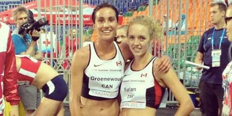 Canadian steeplechase runners Chantelle Groenewoud and Jessica Furlan (right) at the 2013 Summer Universiade (via runningmagazine.ca)