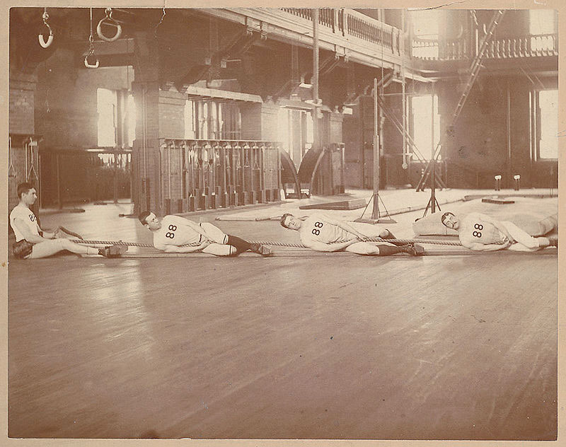 The 1888 Harvard tug of war team probably exercising (via Wikimedia Commons).